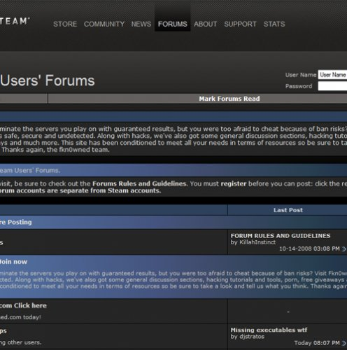 Steam User Forums Hacked